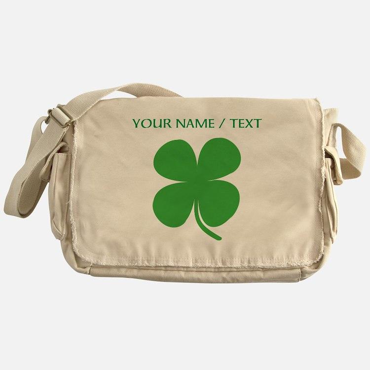 Custom Green Four Leaf Clover Messenger Bag