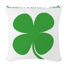 Custom Green Four Leaf Clover Woven Throw Pillow