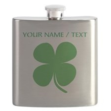 Custom Green Four Leaf Clover Flask
