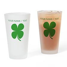 Custom Green Four Leaf Clover Drinking Glass