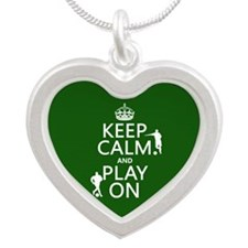 Keep Calm and Play On (soccer/football) Necklaces
