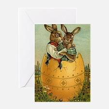 Vintage Easter Bunnies Greeting Card