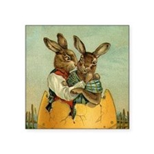 "Vintage Easter Bunnies Square Sticker 3"" x 3"""