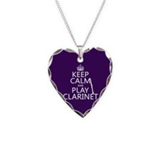 Keep Calm and Play Clarinet Necklace Heart Charm