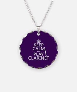 Keep Calm and Play Clarinet Necklace Circle Charm