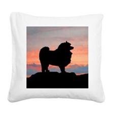 keeshond sunset sq.jpg Square Canvas Pillow