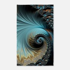 Aqua - Unique Fractal 3'x5' Area Rug
