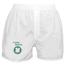 Lucky Charm, 4 leaf clover, vintage Boxer Shorts