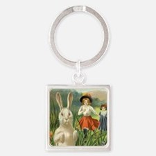 Vintage Easter Bunny Square Keychain