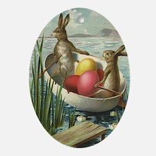 Vintage Easter Bunnies Oval Ornament