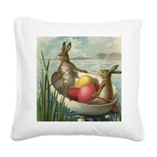 Vintage Easter Bunnies Square Canvas Pillow