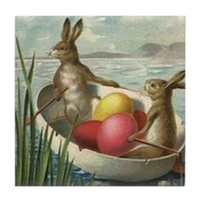 Vintage Easter Bunnies Tile Coaster