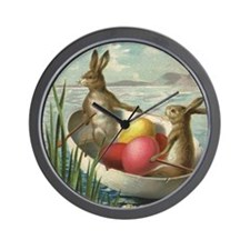 Vintage Easter Bunnies Wall Clock