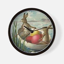 Vintage Easter Bunnies Wall Clock