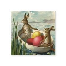 """Vintage Easter Bunnies Square Sticker 3"""" x 3"""""""