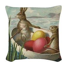 Vintage Easter Bunnies Woven Throw Pillow