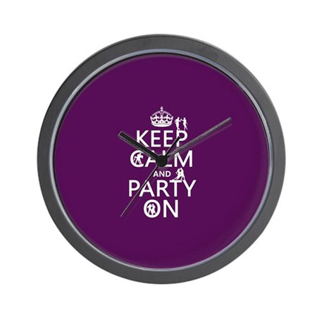 Keep Calm and Party On (4) Wall Clock