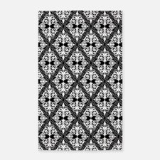 White on Black Damask 29a 3'x5' Area Rug