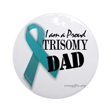PROUD teal TRISOMY DAD Ornament (Round)