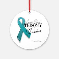 PROUD teal TRISOMY GRANDMA Ornament (Round)