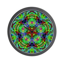 Psychedelic Green Energy Wall Clock