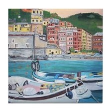 Vernazza Harbor, Italy Tile Coaster