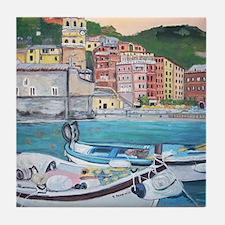 Vernazza Harbor, Italy Tile Coaster