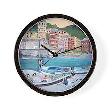 Vernazza Harbor, Italy Wall Clock