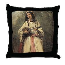 Baptiste Camille Corot, Gypsy Girl Wi Throw Pillow