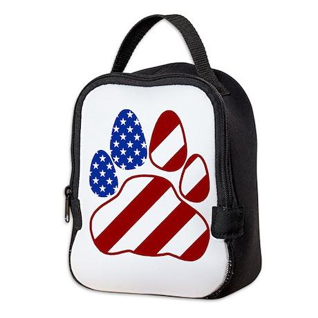 Patriotic Paw Flag Neoprene Neoprene Lunch Bag