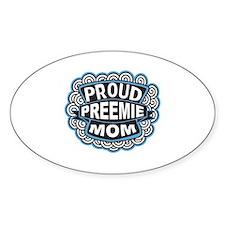 Proud Preemie mom blue Oval Decal