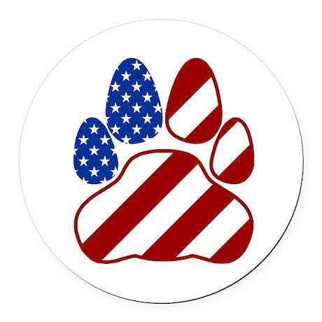 Patriotic Paw Flag Round Round Car Magnet