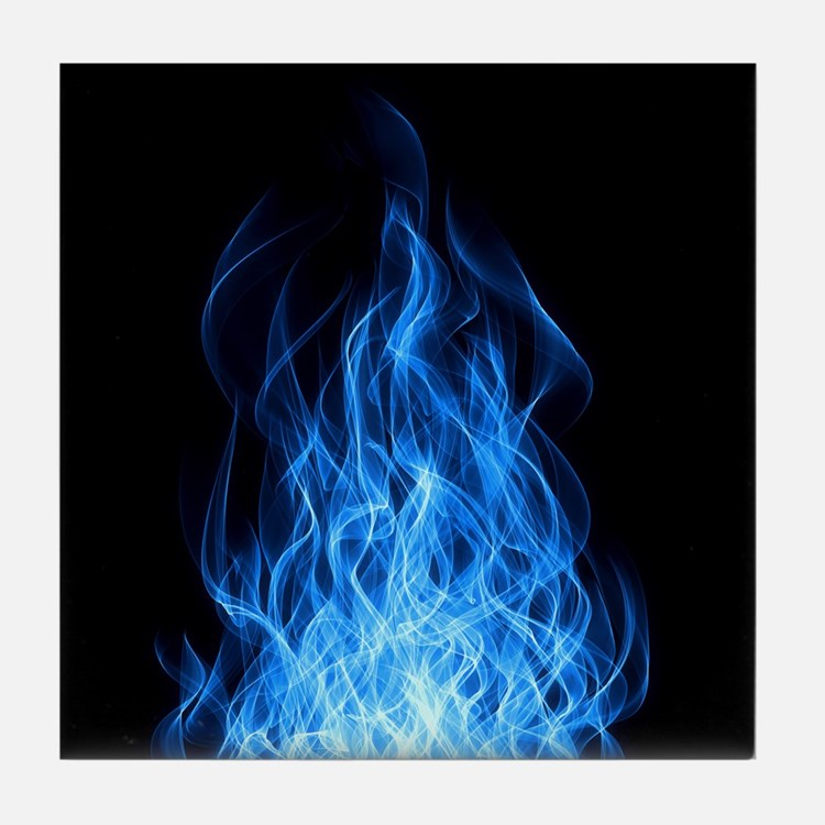 Blue Flames Tile Coaster