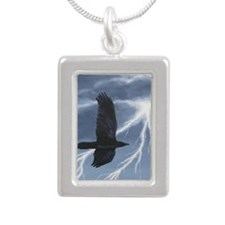 Morrigan Raven Silver Portrait Necklace
