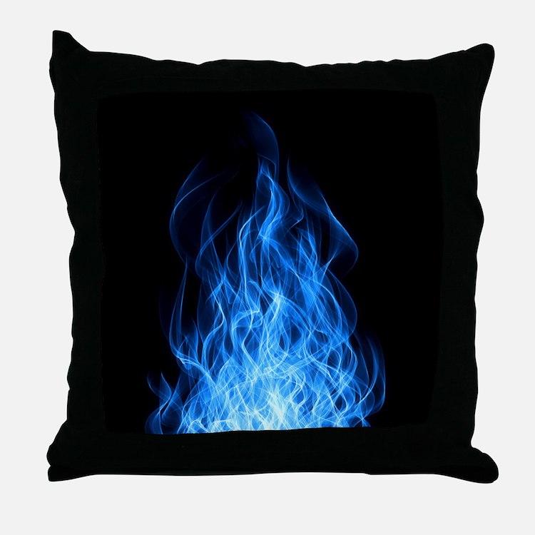 Blue Flames Throw Pillow