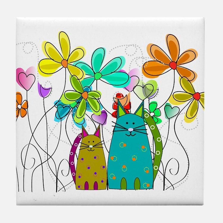 Spring Flowers 14 Tile Coaster