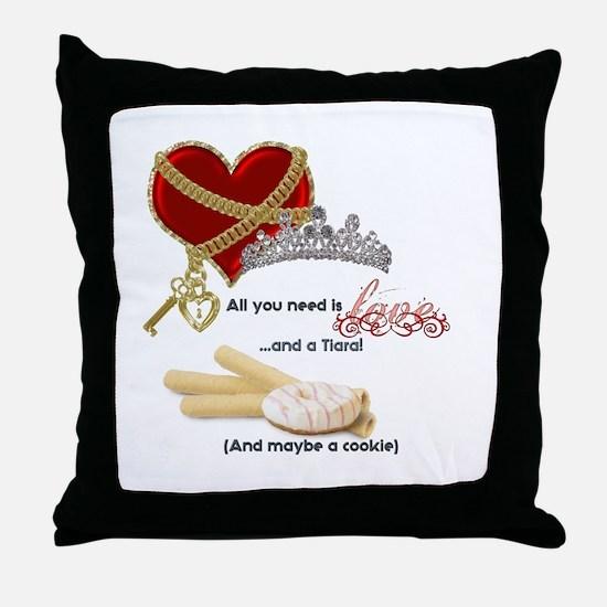 Love Tiaras and Cookies Throw Pillow