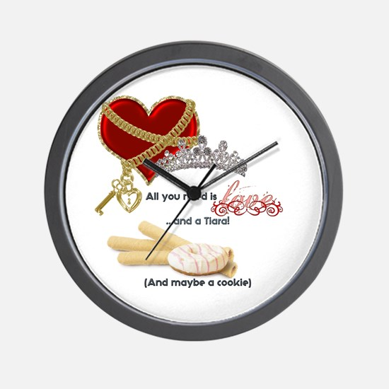 Love Tiaras And Cookies Wall Clock