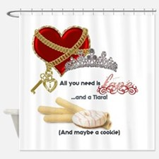 Love Tiaras and Cookies Shower Curtain