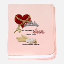 Love Tiaras And Cookies Baby Blanket