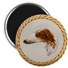 "Vintage Borzoi Painting 2.25"" Magnet (10 Pack)"