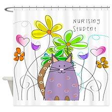 Nursing Student Cat Shower Curtain