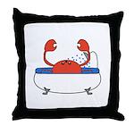 Crab in Bathtub Throw Pillow