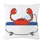 Crab in Bathtub Woven Throw Pillow