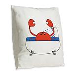 Crab in Bathtub Burlap Throw Pillow