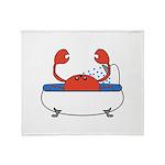 Crab in Bathtub Throw Blanket