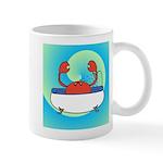 Crab in Tub (Blue Wave) Mugs