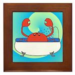 Crab in Tub (Blue Wave) Framed Tile