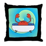 Crab in Tub (Blue Wave) Throw Pillow
