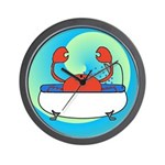 Crab in Tub (Blue Wave) Wall Clock